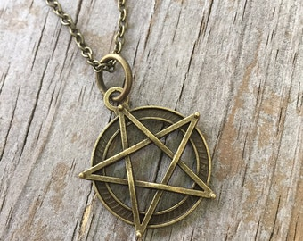 Pentacle Necklace /Bronze Pentacle/ Wiccan Pentacle Charm/ Pentacle Bronze Necklace/ Initial Pentacle Necklace
