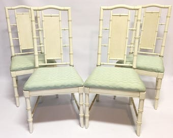 Set of 4 Hollywood Regency McGuire Style Faux Bamboo Dining Chairs
