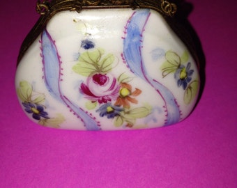 Antique, signed, hand painted, Limoges porcelain purse trinket box