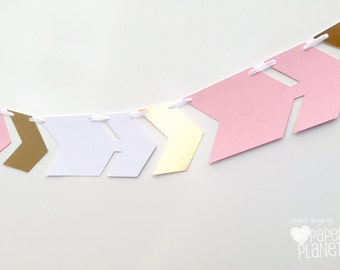 Arrow and chevron banner. Pink white and gold. Photo Prop, Birthday party garland, bunting, baby shower. Boho Tribal Wilderness. Wild One.
