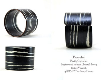 Wooden Bracelet. Partly Cylinder. Ebony & Ivory. Bent veneer.