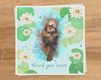 Watercolour Otters Blank Greeting Card