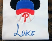 Disney Mickey ear Phillies baseball hat shirt with or without name