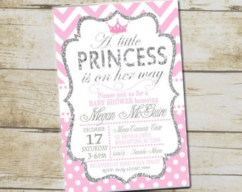 Little Princess Pink and Silver Baby Shower Invitation, Princess Baby Shower Invite, Princess Pink Silver Baby Shower Invitation, 1002-B
