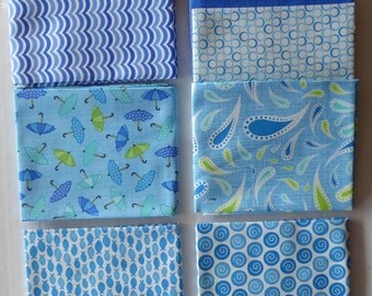 Rainy Day by Moda Cotton Fabric, Fat Quarter Bundle of 7~Grp #3-Blue~Fast Shipping Fq688