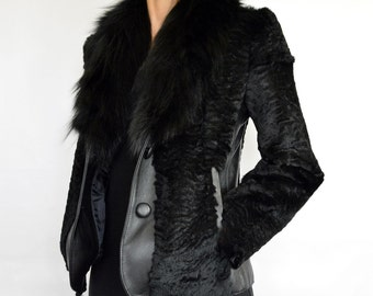 Womens Real Leather Jacket made with Genuine Leather and Fox fur, Black leather Jacket, Short Jacket, Fox Fur Jacket, Black Fur Coat