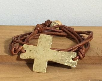 Women's Leather Wrap Bracelet, Cross leather bracelet, Cross wrap bracelet, Womens leather bracelet, Boho bracelet, Item PL280