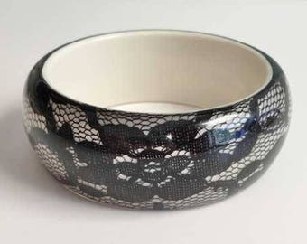 Romantic, Black Lace Under Lucite, Chunky Bangle Bracelet