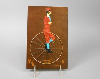 Vintage Man on Unicycle Picture Handcrafted on Wood 1970's kitsch