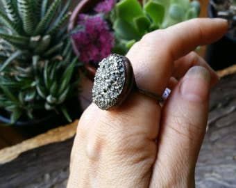 Pyrite electroformed ring size 8