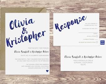 Sonora Wedding Invitation & RSVP Postcard, Navy Blue Wedding Invitation, Watercolor Wedding Invite, Customized Invitation, Art Deco Wedding