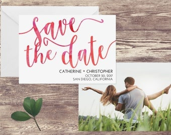Watercolor Save the Date Card, Photograph Save the Date, Save the Date Card with Photograph, Save the Date with Photo, Modern Save the Date