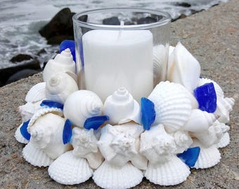 Beach Decor - White Shell Wreath With Blue Sea Glass and Candle (CW041)