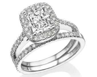 wedding ring set 170 tcw moissanite forever one vvs g h with diamonds 14k white - Woman Wedding Rings