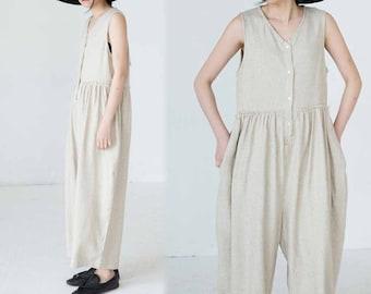 775---Loose Front Buttoned Linen Jumpsuit , Wide Leg Linen Romper, Navy Blue / Beige /  Natural Linen Color Overall, Women Romper.
