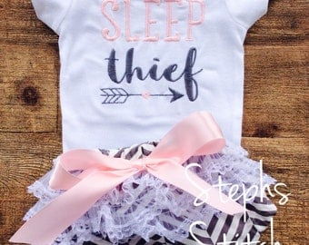 Sleep Thief Onesie and Ruffled Diaper Cover Set