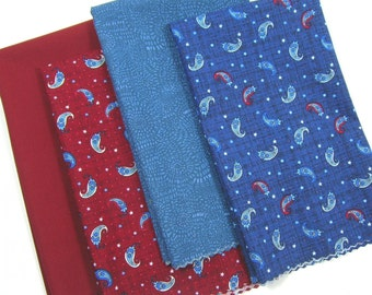 Patriotic Fat Quarter Bundle Henry Glass Paisley Red Blue PFQ16
