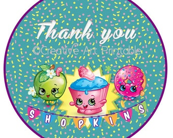 Shopkins Toppers Cupcake Tags Bottle Caps Scrapbooking Thank you Party Printables  Instant Download
