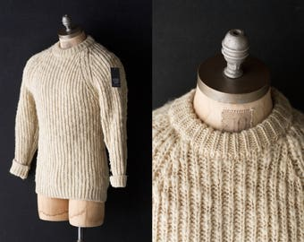 60s Wool Fisherman Sweater - Banff Chunky Ribbed Hand Frame Knit White/Cream - Sz Men's Large