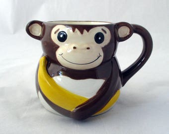 Monkey decor, banana candle, Monkey Farts soy candle, mug candle, monkey cup, animal candle, large container candle, gift candle, zoo animal