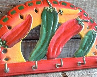 Cast Iron Hand Painted Pepper Key Hook