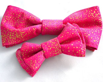 Pink and Gold Dog or Cat Collar Bow//Pet Gift//Pink and Gold//Cotton Bow//Collar Bow//Cat Bow//Dog Bow