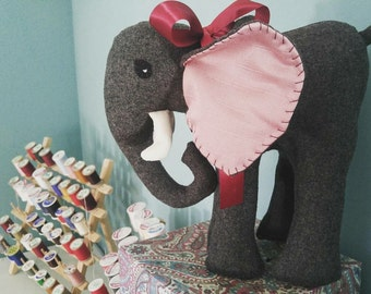 14 inch stuffed toy elephant in gray wool with pink silk ears