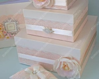 pale pink wedding card box wedding card holder 3 tier money card box gift card holder