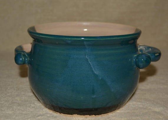 Serving Bowl, Soup Bowl, Stoneware, Ceramic, Peacock Blue, Off White, Kitchen Dish,