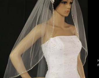 wedding veil white or ivory same style-metal comb