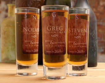 Shot Glasses, Set of 6, Personalized Groomsmen Gifts