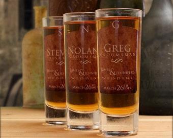 Gifts for Groomsmen, Set of 10, Custom Shot Glasses