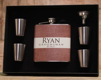 Groomsmen Flasks, Personalized Gifts, Set of 2, Rustic Wedding
