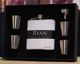 Flask Gift Sets for Groomsmen, Setof 3, Best Men and Ushers - Personalized Wedding Party Flask Gift Sets