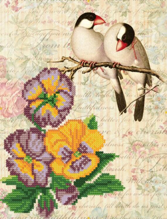 Vintage Birds Bead embroidery kit, seed beads stitching set, beaded painting, wedding gift idea
