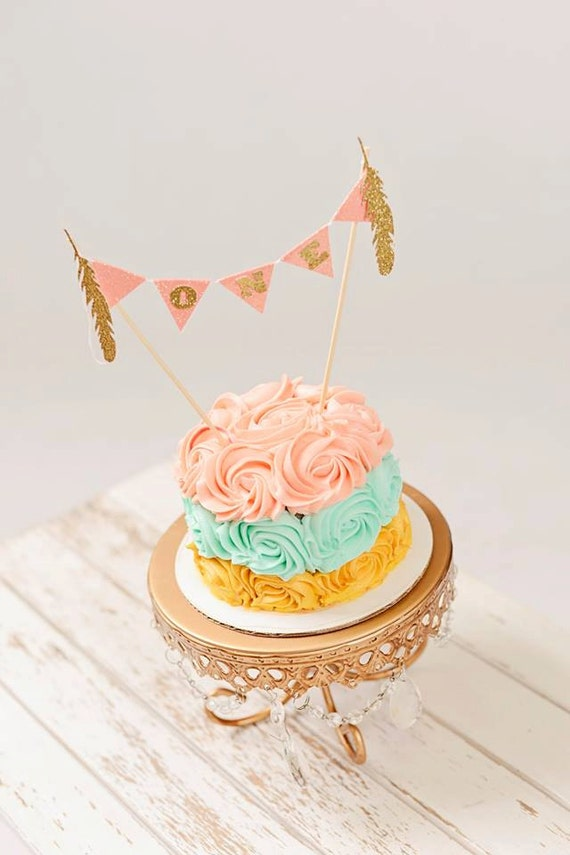 BOHO Cake topper chic Cake topper Feather Cake topper