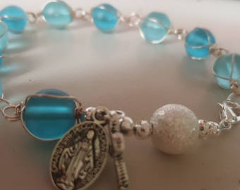 Blue decade rosary bracelet