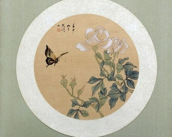 Vintage Chinese Painting, Chinese Painting on Silk, Nature Painting Butterfly and Flowers, Chinese Painting White Roses, Chinese Art
