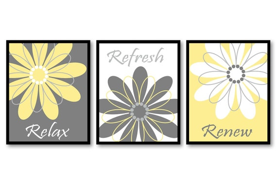 bathroom wall art yellow grey gray white daisy flower print. Black Bedroom Furniture Sets. Home Design Ideas