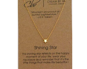 Tiny Gold Star Necklace - Shining Star Necklace - Simple Star Necklace - Dainty Gold Necklace - Small Star Necklace - Tiny Star on Gold Fill