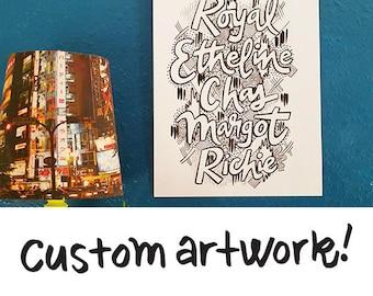 Hand Drawn Custom Typography - Quote, Family Name, Monogram, Devotional, Song Lyrics