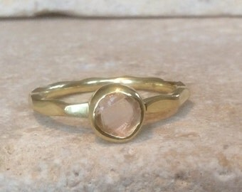 Morganite Ring, US 8, Raw Morganite Gold Ring, Rough Natural Gemstone, Rough Morganite Ring, Wedding Jewellery, Bridesmaids Gift