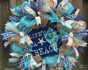 Beach Wreath, Nautical Wreath, Coastal Wreath, Beach Mesh Wreath, Beach Burlap Wreath, Shell Wreath, Beach Decor, Beach House