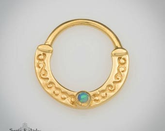 Solid Gold Septum With Opal - Gold Nose Ring - Septum Jewelry - 14K Gold Septum Ring - 18g Septum Ring