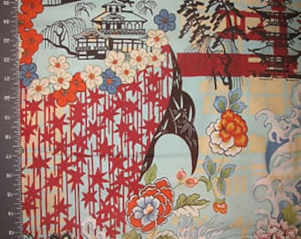 KOTO by Alexander Henry ~ Fabric ~ Japan ~ Asian ~ Toile ~ Symbols ~ Floral ~ Quilting ~ Sewing ~ Waves ~ Pagoda ~ OOP ~ 2006