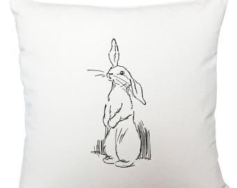 Cushions/ cushion cover/ scatter cushions/ throw cushions/ white cushion/ sketch of a rabbit cushion cover