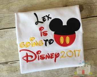 Going To Disney Personalized with your Name Mickey Pants on a White T-shirt 2017. Inspired by Mickey Mouse and Disney.
