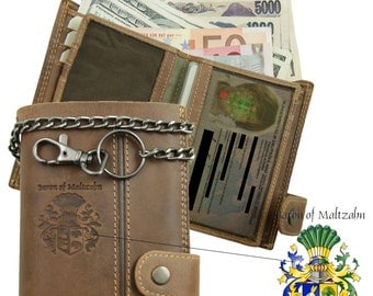 Biker wallet with chain WERTHEIMER of brown eco-leather