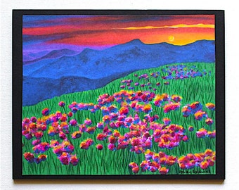 Sunset Over Mountains and Field of Flowers Landscape Embellished Print