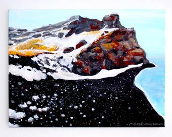 Original Iceland Landscape Acrylic Painting of Reynisfjara Shore, the Black Sand Beach, 3 of 4 from the Series